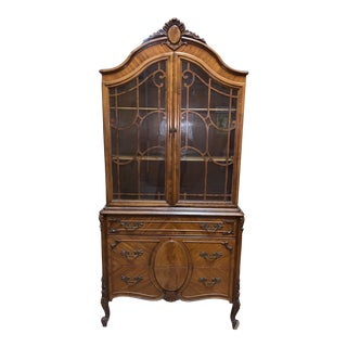 Vintage Mid Century Louis XV Style Display Cabinet For Sale