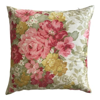 1990s Floral Silk Square Pillow For Sale