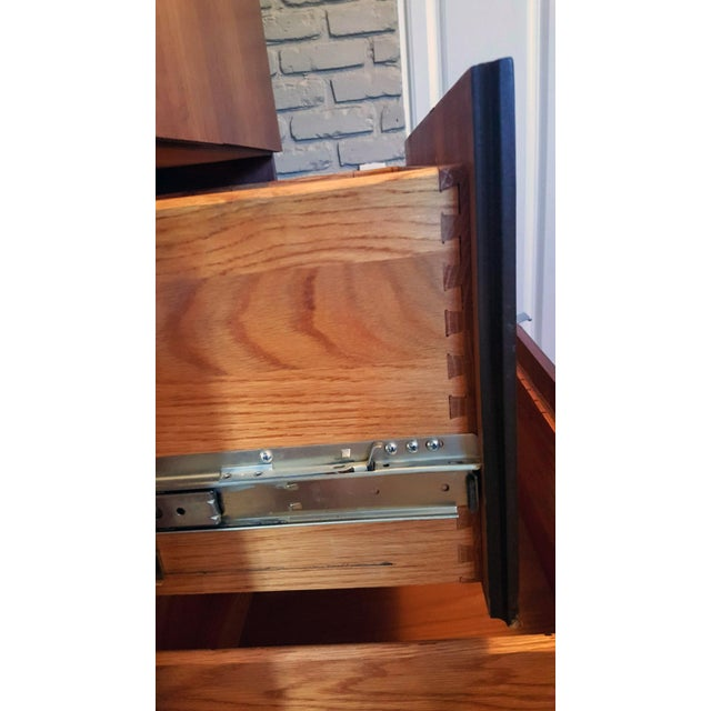 1970s Danish Modern Dillingham Walnut Conjoined Twin Enclosed Storage Cabinets - a Pair For Sale In Palm Springs - Image 6 of 13