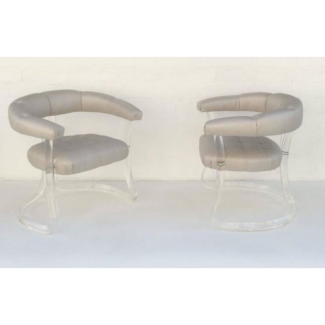 Pair Sculpted Acrylic Armchairs For Sale - Image 10 of 10