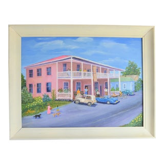 Mid Century Pink Kona Hotel Oil Painting, Hawaii For Sale