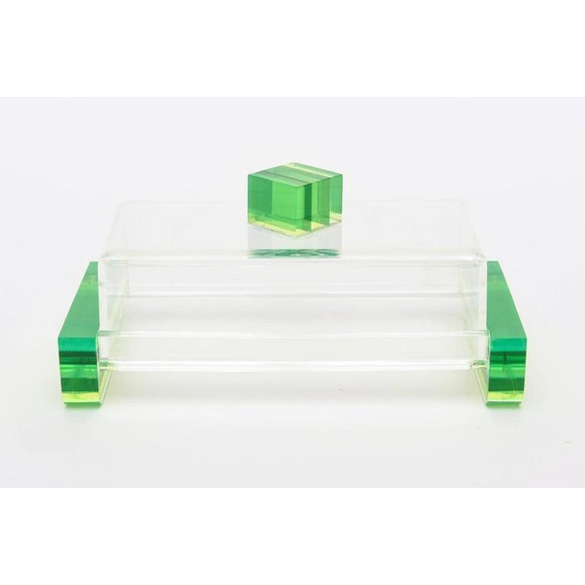 Boho Chic Charles Hollis Jones Style Colored Lucite Two Part Box For Sale - Image 3 of 9