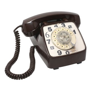 Vintage 1984 Brown Rotary Desk Phone For Sale