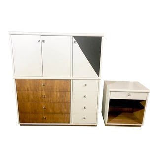 Jack Cartwright Mid-Century Modern Founders Dresser & Nightstand - a White & Maple Set For Sale