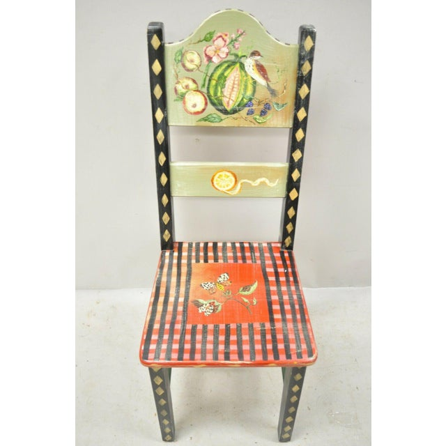 Late 20th Century French Country Style Handpainted Fruit Bird Butterfly Side Chair For Sale - Image 4 of 11