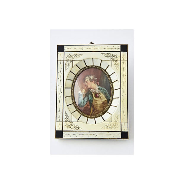 Pair of Antique 19th Century Artist Signed Hand Painted Miniature Portraits of two Lovers looking at each other from...