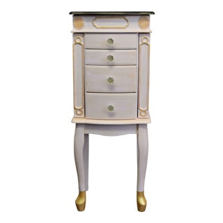 1980s Shabby Chic Pink Painted Jewelry Armoire
