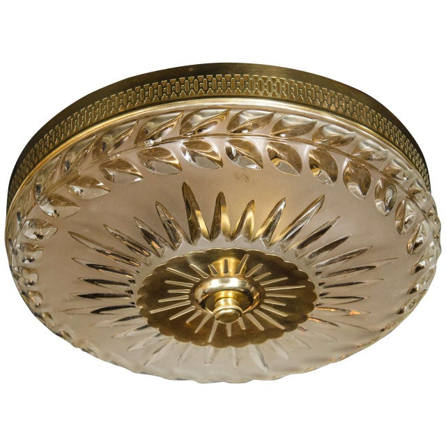 Gold 1940s Hollywood Laurel Design Flush Mount Chandelier For Sale - Image 8 of 8