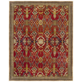 Red Antique Indian Agra Rug For Sale