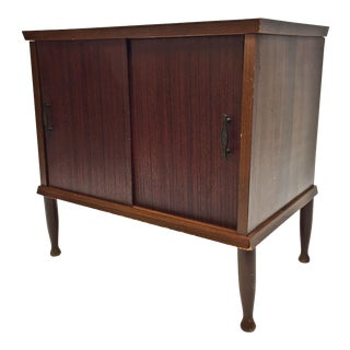 Mid Century Modern Brown Wood Record Cabinet Stand