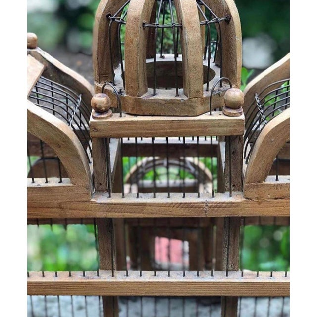 Antique Wooden Bird Cage For Sale - Image 4 of 6