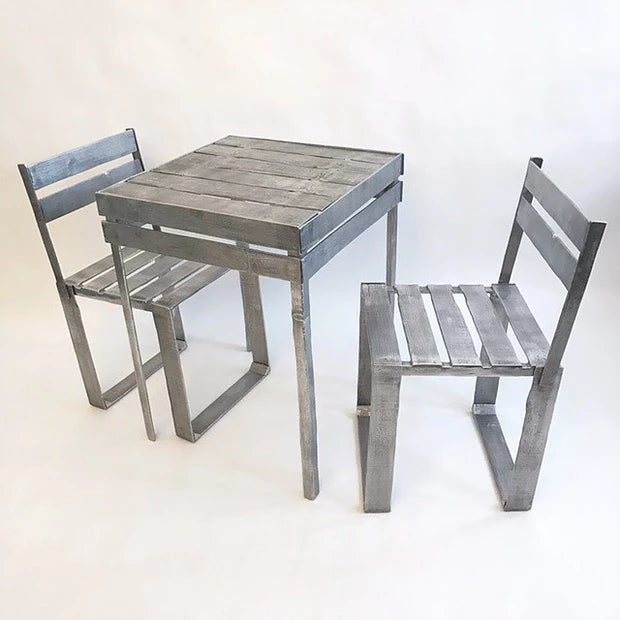 Ortofrutta cafe set by Andrea Salvetti, c. 2010. Cast aluminum construction in the form of wood fruit crates....