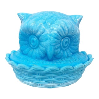 Turquoise Blue Milk Glass Owl Box For Sale