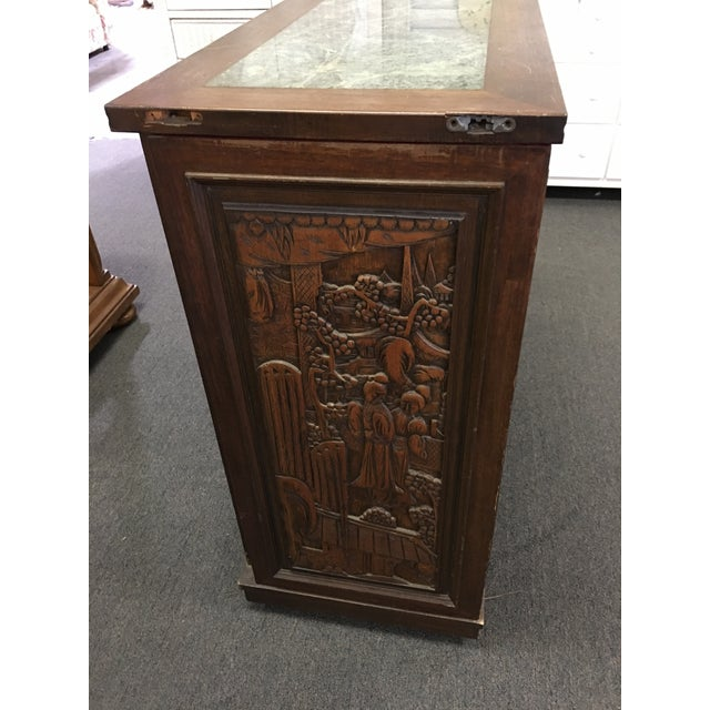 Wood Asian Teak Marble Top Fold Out Bar For Sale - Image 7 of 11