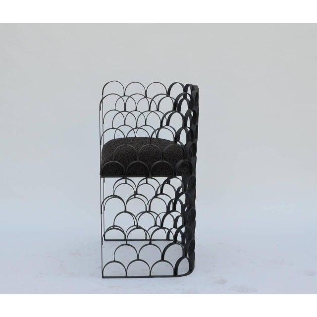 DESIGN FRERES Sculptural Wrought Iron and Astrakhan Wool 'Arcature' Stool by Design Frères For Sale - Image 4 of 9
