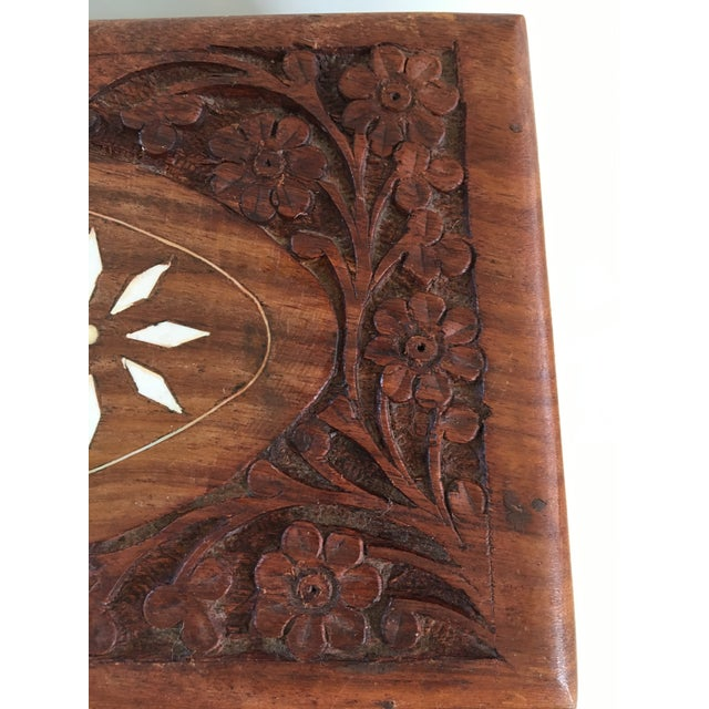 1960s Vintage Hand Carved Wooden Box For Sale - Image 6 of 12