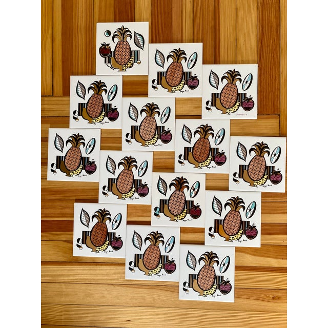Mid Century Modern Signed Georges Briard Porcelain Tiles - Set of 13 For Sale - Image 9 of 9