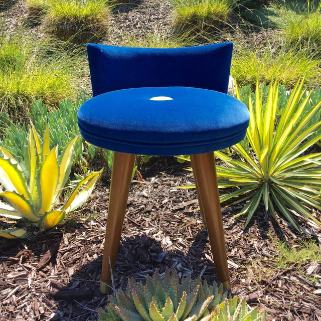 The Deep Blue velvet and Chartreuse accent button makes this little gem, one of a kind unique. This vanity stool has great...