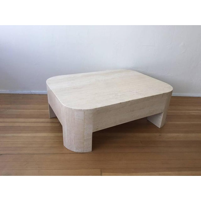 Polished Italian Travertine Cocktail Table For Sale - Image 9 of 9