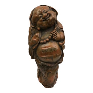 1980s Chinese Art Carved Bamboo Happy Buddha Sculpture For Sale