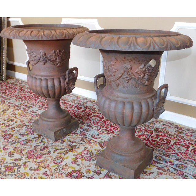 Rusted Cast Iron Garden Urns - A Pair - Image 4 of 6
