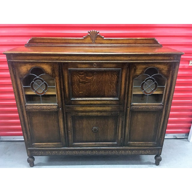 Antique Carved Wood Secretary Desk - Image 11 of 11