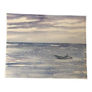 """Final Price! Nancy Smith """"Speck"""" Original Watercolor Seascape Painting For Sale"""