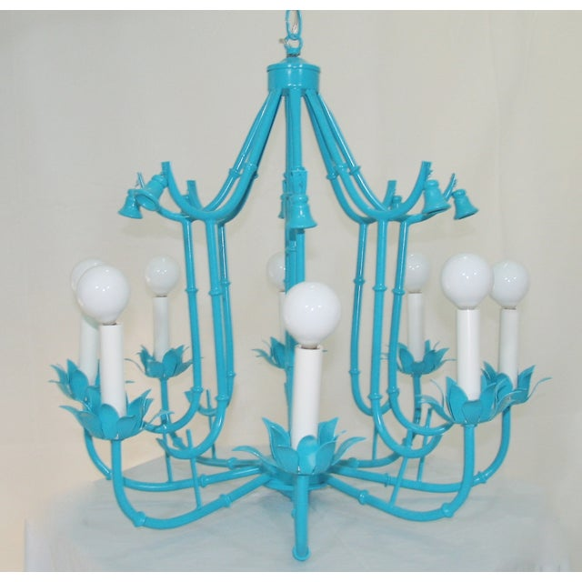 Turquoise Faux Bamboo Pagoda Chandelier - Image 2 of 7
