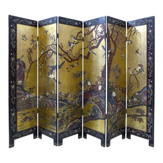 Early 20th Century Chinese Coromandel Six-Panel Screen with Foliage and Birds