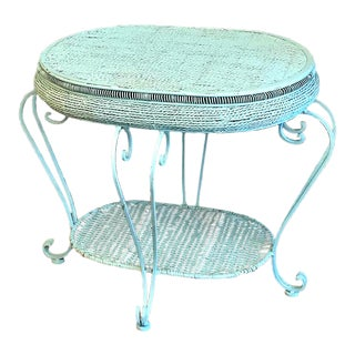 1960s Vintage Blue Rattan Iron Legged Table For Sale