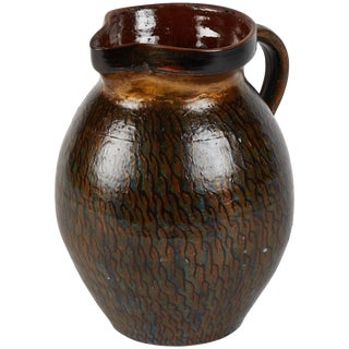 Early 20th Century Hurlington Ware Pitcher With Teal and Bronze Painted Detail For Sale