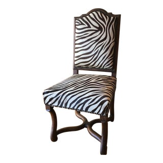 Vintage Zebra Printed Accent Chair For Sale
