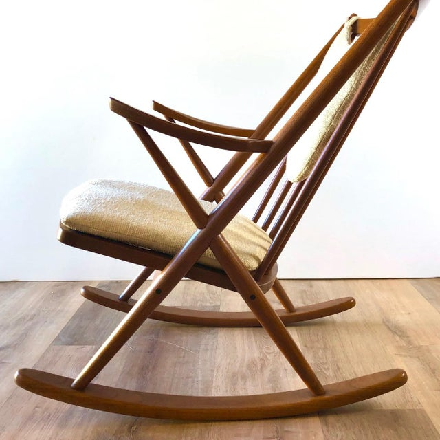 Mid-Century Modern Newly-Upholstered Frank Reenskaug Teak Rocking Chair for Bramin For Sale - Image 3 of 11
