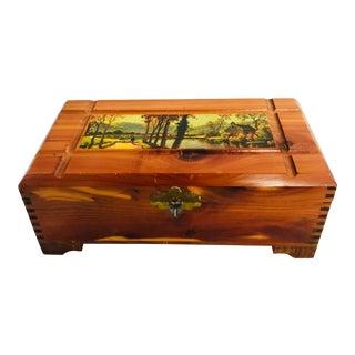 1940's Americana Cedar Wood Decorative Box For Sale