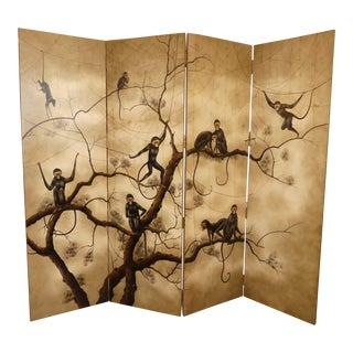 Theodore Alexander 4-Panel Monkey Motif Room Divider For Sale