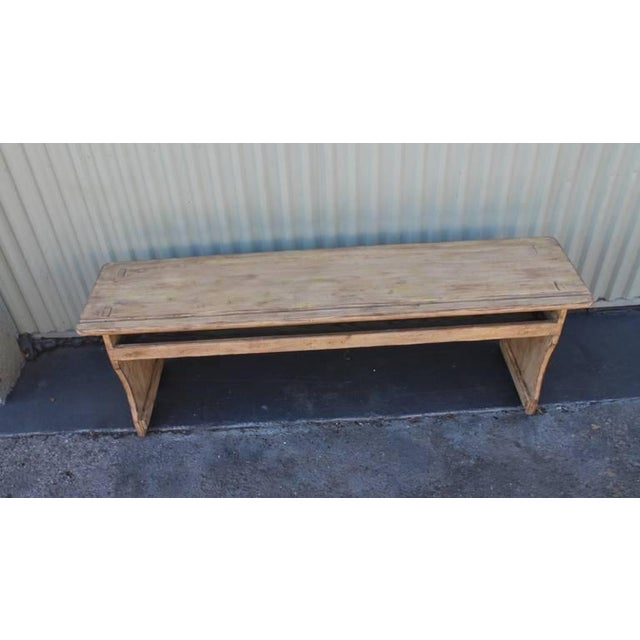 Mid 19th Century 19th Century Cream Painted Bucket or Farm Bench from Pennsylvania For Sale - Image 5 of 9