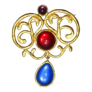 Vibrant Jeweled Pin Signed Duplaise For Sale