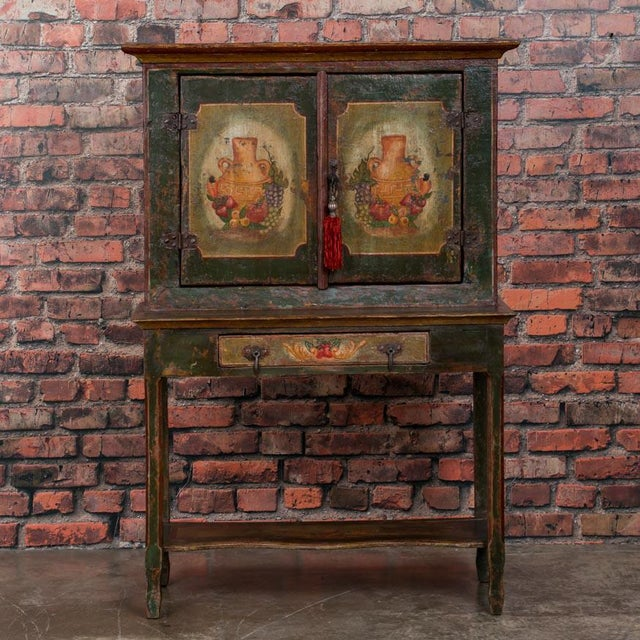 Traditional 20th Century Traditional Two Door Hand Painted Cabinet For Sale - Image 3 of 9