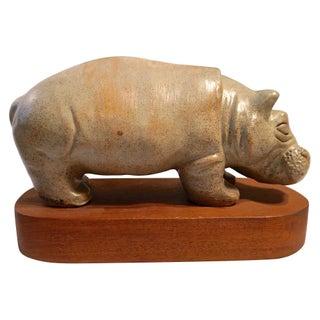 Mid-Century Hippo Sculpture For Sale