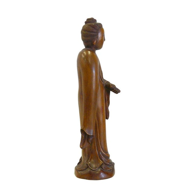 Asian Chinese Boxwood Standing Scholar Kwan Yin Statue cs695-4 For Sale - Image 3 of 7