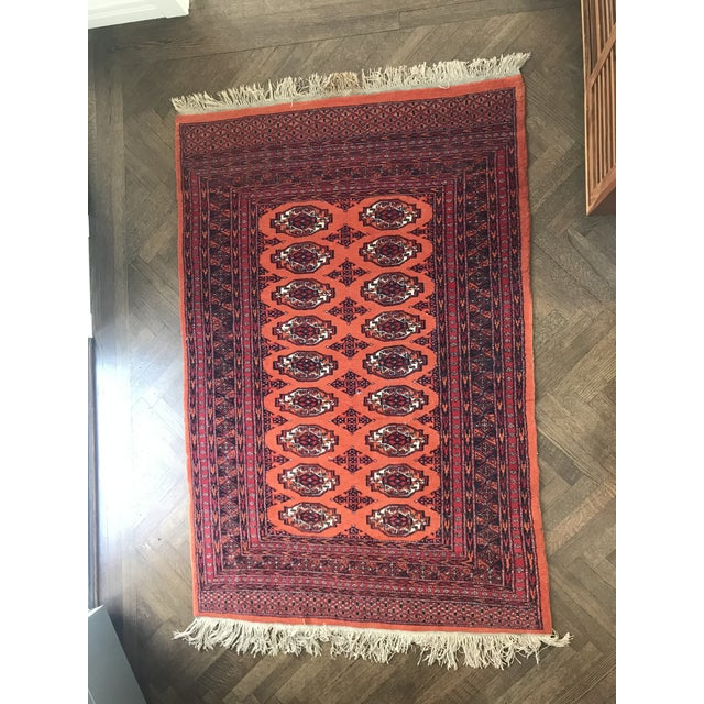 Textile Hand Knotted Vintage Rug - 4′ × 6′2″ For Sale - Image 7 of 8