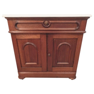 19th Century Walnut Washstand With Marble Top For Sale