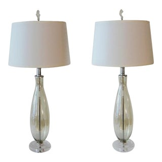 Custom Made Pale Golden Blown Glass Lamps by C. Damien Fox, a Pair For Sale