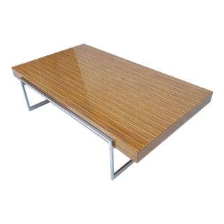 Dellarobbia Mid-Century Style Zebrano and Chrome Coffee Table For Sale