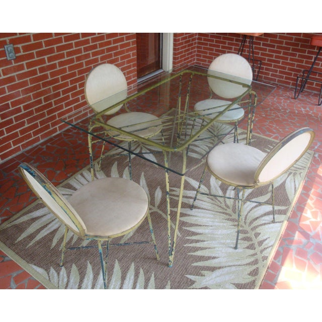 Salterini Midcentury Modern Salterini Glass and Iron Dining Table, 4 Chairs, Indoor Outdoor For Sale - Image 4 of 4