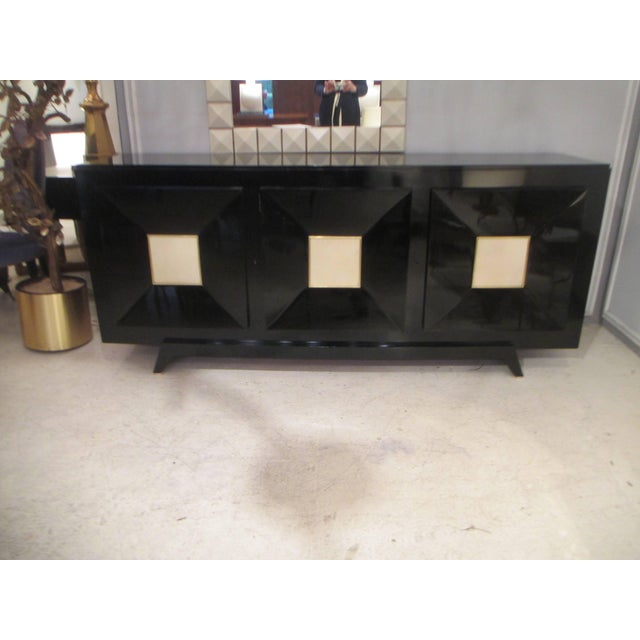1950s French Ebonized Sideboard with Parchment Doors For Sale - Image 5 of 13