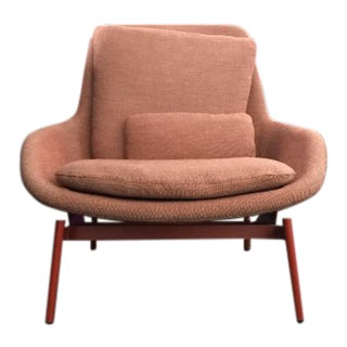 Art Deco Style Blu Dot Burnt Orange Wool Lounge Chair
