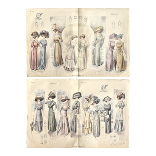 Antique French 1910 Fashion Illustrations - a Pair For Sale