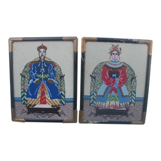 Vintage Emperor and Empress Needlepoints - a Pair For Sale