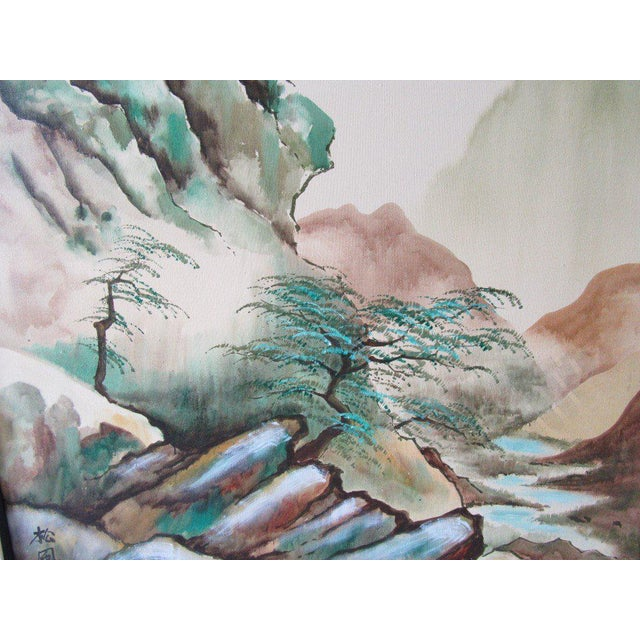 Japanese Landscape Watercolor Painting - Image 2 of 6
